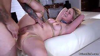 Anal fuck and cum in rope bondage