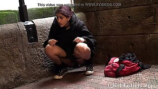 pissing in public of indian teen pissing outdoors and showcasing