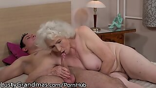 LustyGrandmas Sensual grannie Uses unshaved cell to Ride Young Dick