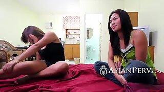 Passionate asians devouring a rock hard schlong