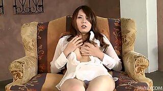 Elegant office lady Yui Hatano masturbates in her room