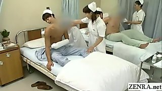 Subtitled CFNM Japanese hospital nurses group handjobs donation
