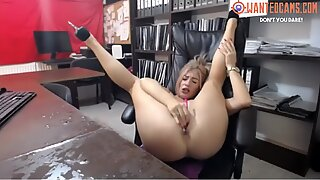 Showing off great legs and squirt onto desk