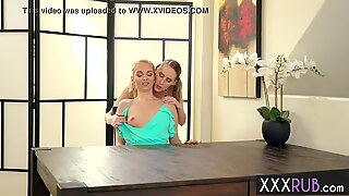 Hot big tits stepmom fingering a petite blonde teen