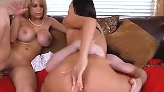 Stepmom Takes Turns On Step BFs Cock With Stepdaughter