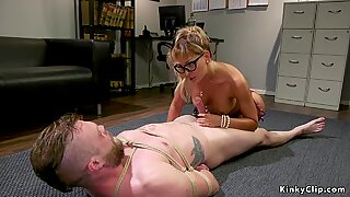 Busty Milf domme sucks male subs cock