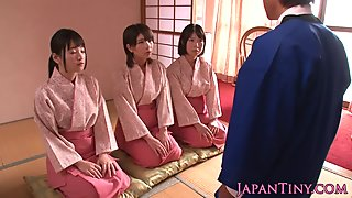 Japanese geishas cocksucking in asian fourway