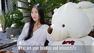 Timid Chinese girl gives an interview before the first anal sex.