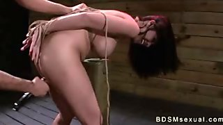 Busty Asian babe tied up and deep throat fucked
