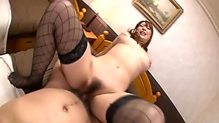 Asian slut takes her cock and she rides it