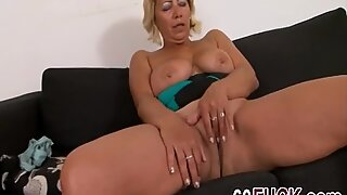 Busty blonde granny rubs her hungry vagina then gets banged by a horny black stud