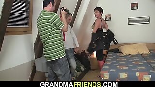 Photosession leads to threesome with hairy mature
