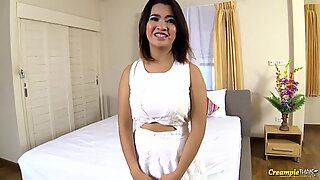 Thai girl with massive natural tits gets creampied