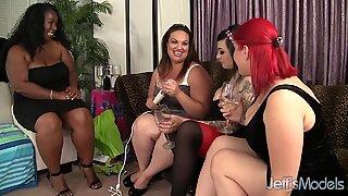 BBW Balchoelette Party turns hardcore lesbian sex
